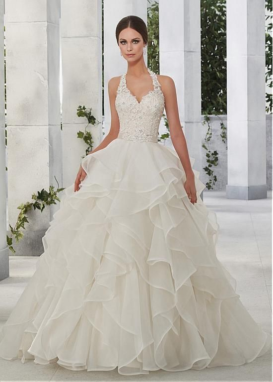 836d447c986 Amazing Tulle   Organza Halter Neckline A-Line Wedding Dresses With Lace  Appliques
