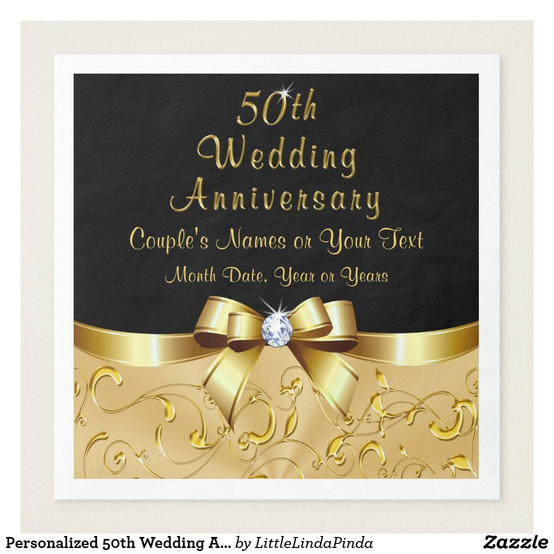Personalized 50th Wedding Anniversary Napkins