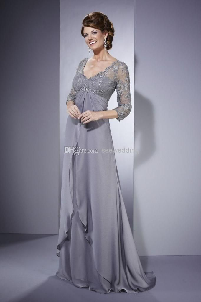 84bb90a7f Silver Empire Waist Mother of the Bride Dresses Vintage V Neck Lace 3/4 Long  Sleeve Ruffled Chiffon Long Formal Dresses for Mature Women