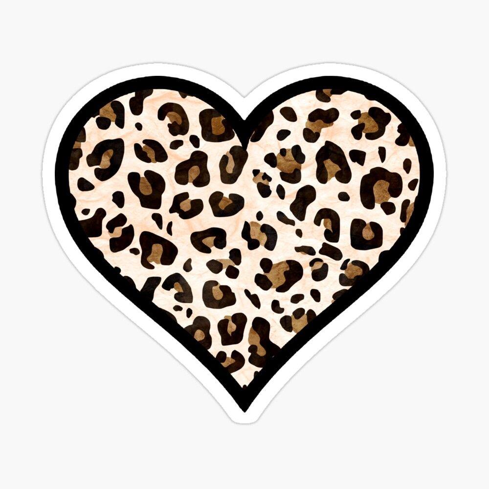 Leopard Print Heart Sticker In 2021 Cute Laptop Stickers Heart Stickers Cheetah Print Background [ 1000 x 1000 Pixel ]