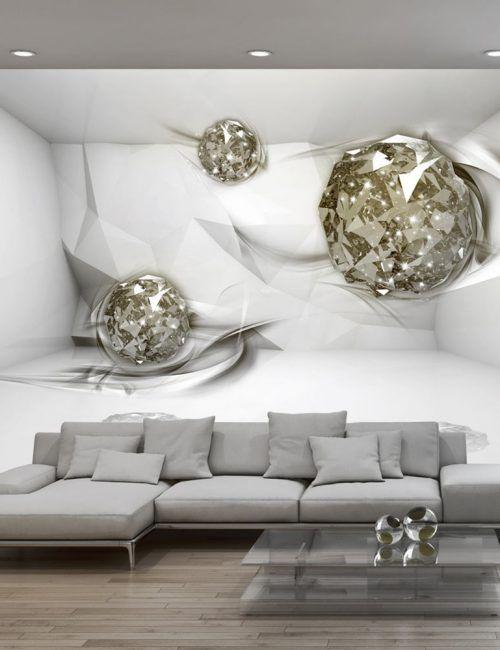 Carta da Parati Diamanti su Sfondo Bianco Carta da Parati - interieur design dreidimensionaler skulptur