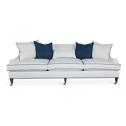 Santa Barbara Sofa, Ivory/Blue Linen