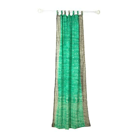 GREEN Curtain, SEAFOAM Gray Colorful Window Treatment, Indian Sari Boho CURTAIN, for bedroom living #indischeswohnzimmer GREEN Curtain, SEAFOAM Gray Colorful Window Treatment, Indian Sari Boho CURTAIN, for bedroom living #indischeswohnzimmer