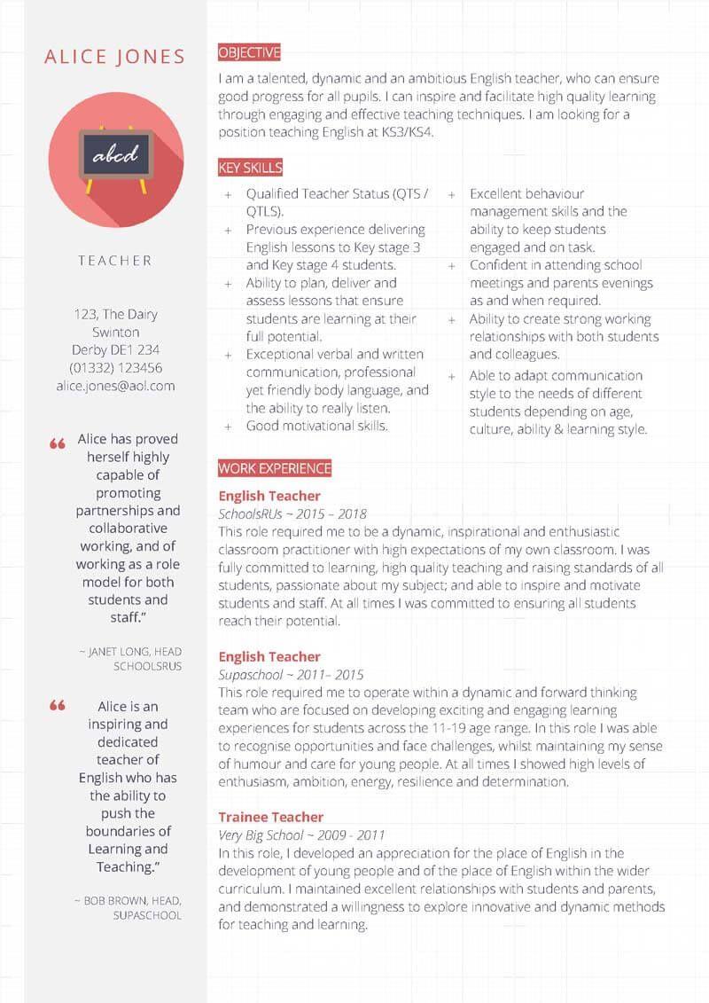 Free professional Teacher CV template in MS Word CV