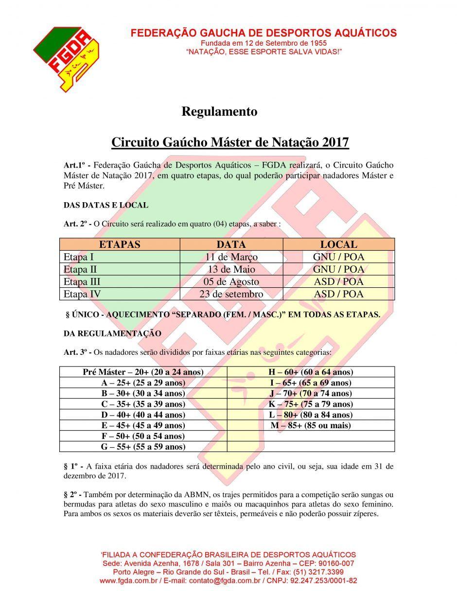 REGULAMENTO CIRCUITO GAÚCHO MASTER DE NATAÇÃO FGDA 2017