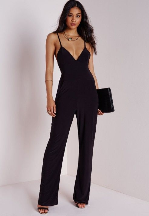 Slinky Wide Leg Jumpsuit Black - Jumpsuits - Black Jumpsuits ...
