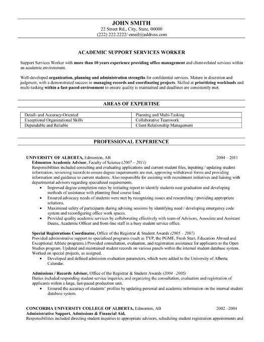 Academic Resume Sample Click Here To Download This Academic Advisor Resume Template Http