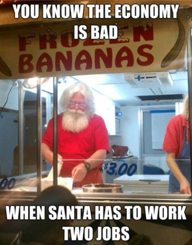 When Santa has to work two jobs