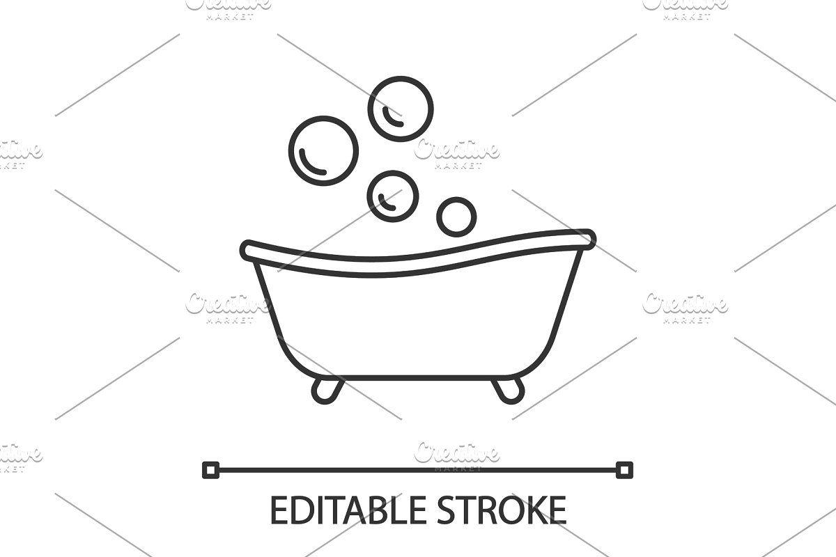 Baby Bathtub Color Icon Baby Bath Tub Bubble Drawing Bathtub