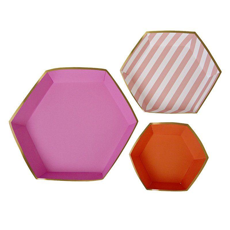 Toot Sweet Pink Stripe Platter Set