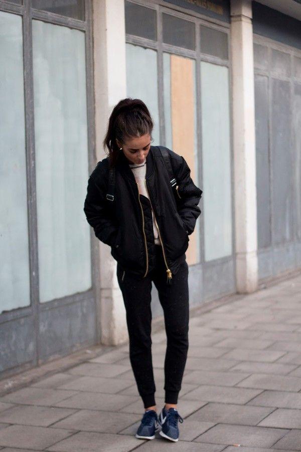 Fashion Blogger India Rose Black Bomber Jacket Nike Sneakers