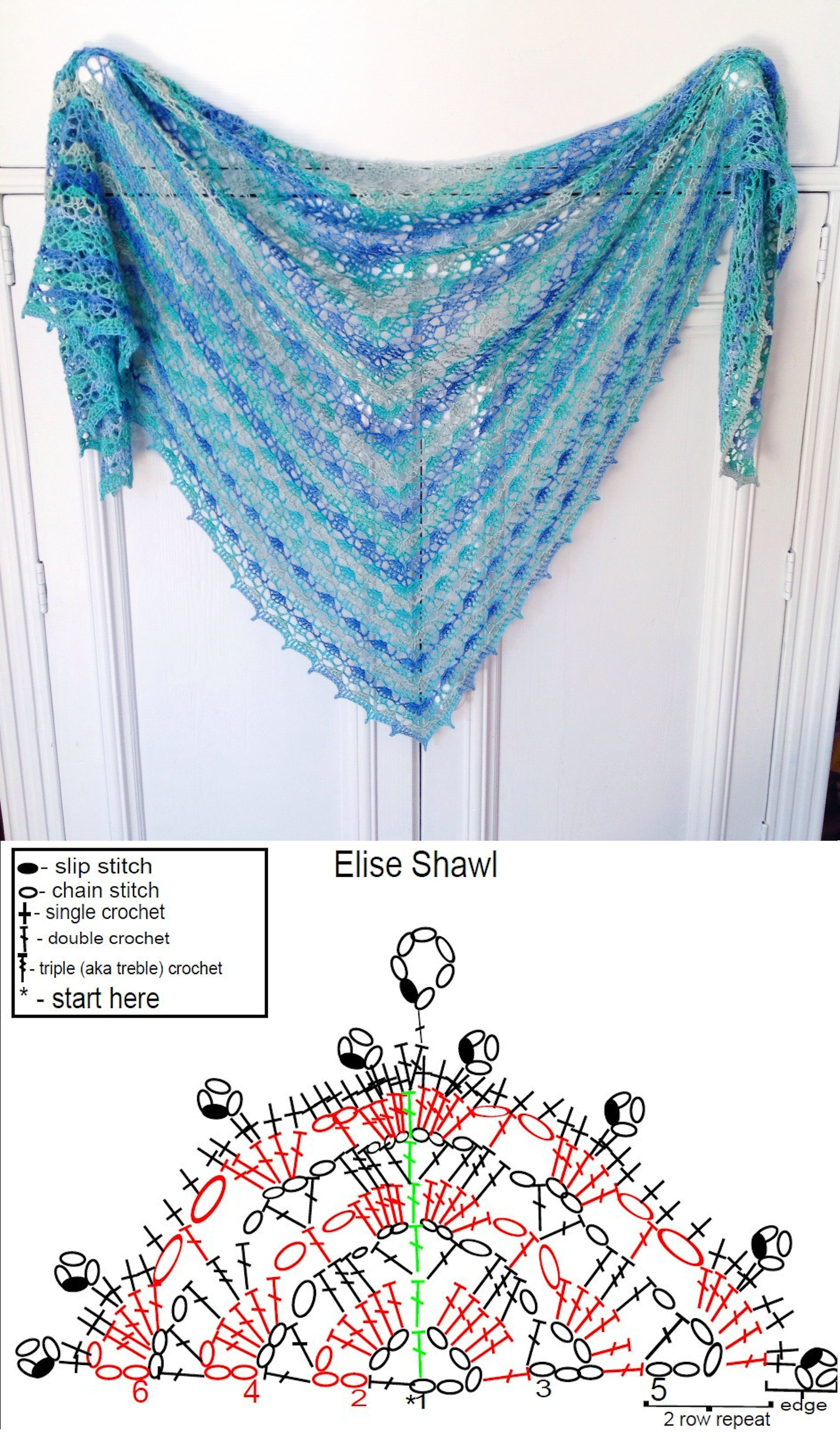 Crochet Elise Shawl | Jólaföndur | Pinterest | Chal, Ganchillo y Ponchos