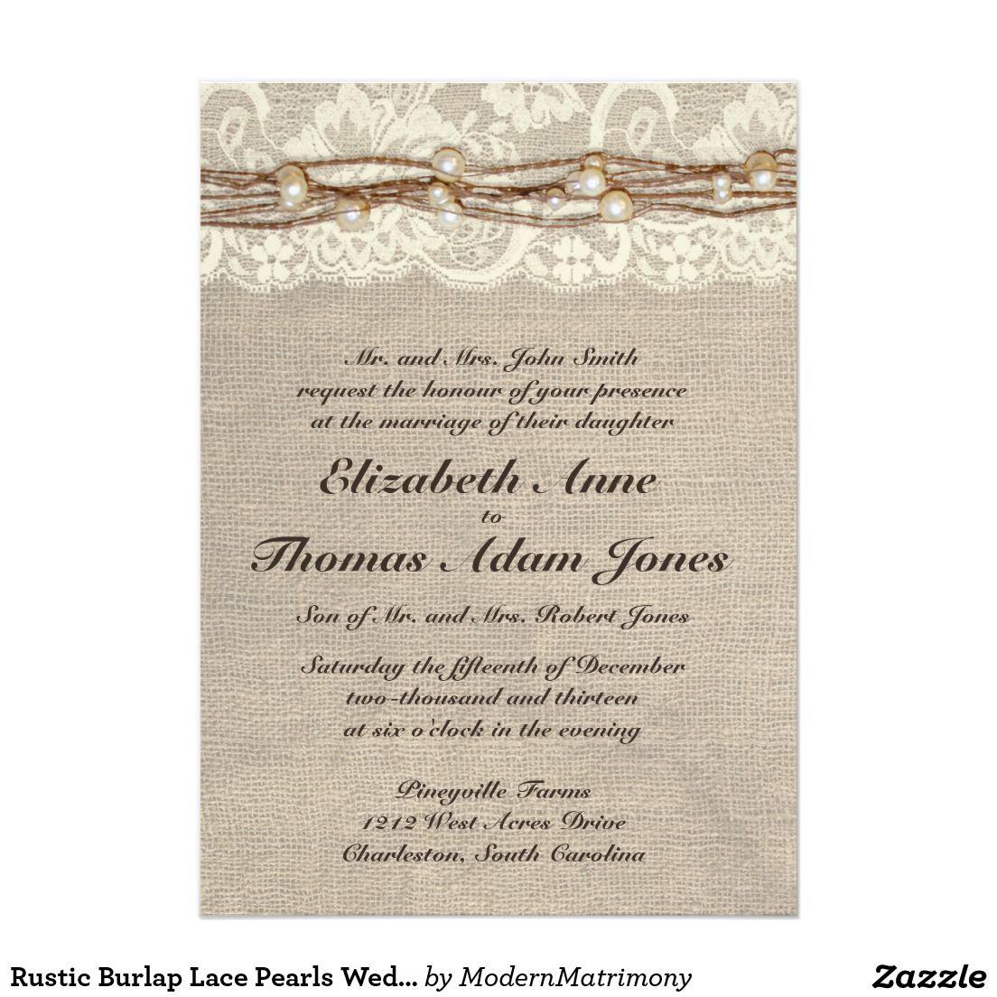 Rustic Burlap Lace Pearls Wedding Invitation | Burlap lace, Country ...