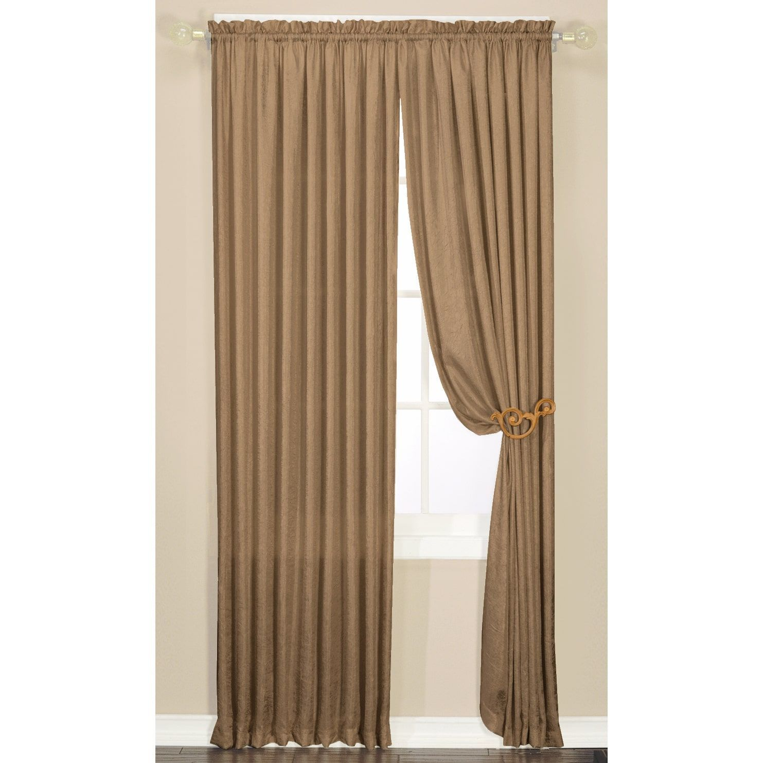 Faux Silk Luster Crushed Curtain Panel Pair Sage 84 inch Green