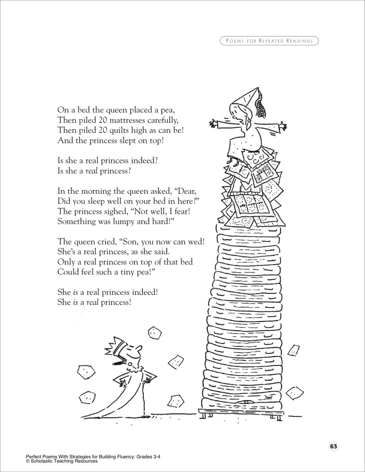 The Princess And The Pea A Poem For Groups Printables Poetry Worksheets Poetry Writing Activities Poetry Lessons