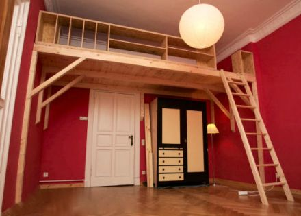 hochbett mit leiter aus fichtenholz apartment 2017 pinterest bedrooms lofts and mezzanine. Black Bedroom Furniture Sets. Home Design Ideas