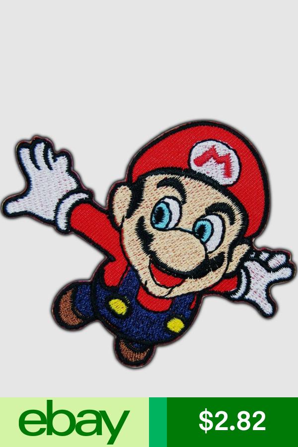 Super Mario Jump Flying Mushroom Cartoon Video Game Kids Iron On Patch 0002 Super Mario Mario Super Mario Bros