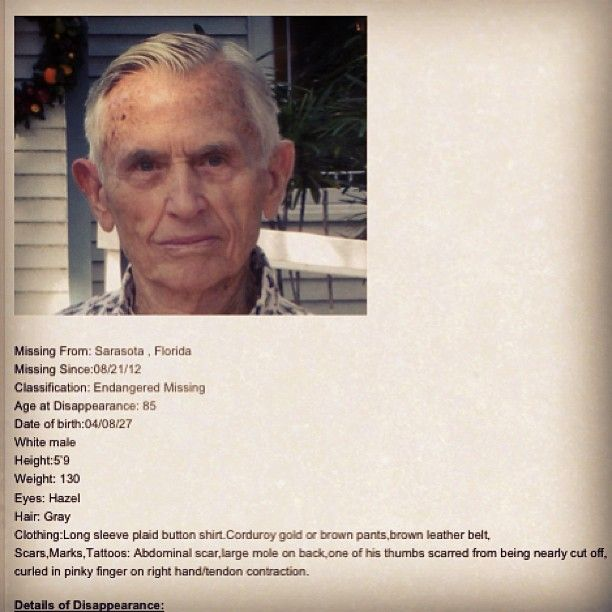Newton Whidden, 86, missing person from Sarasota, FL, endangered missing since 8/21/12