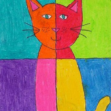Abstract Art Cat   Abstract art for kids, Easy abstract ...