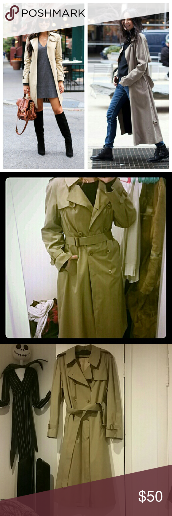 Vintage trench coat This coat is beautiful. It's missing the inner lining so I'm not sure the size or brand name. Will fit small or medium. Measurements upon request.  Will go cheaper on merc :) London Fog Jackets & Coats Trench Coats