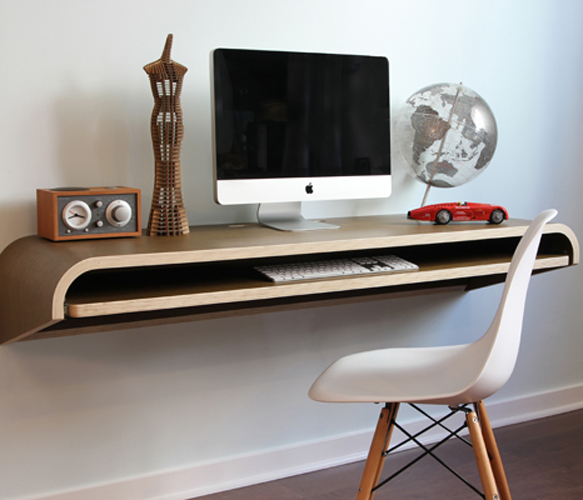 For a small office Minimal Float Wall Desk. But it a wood or black finish.