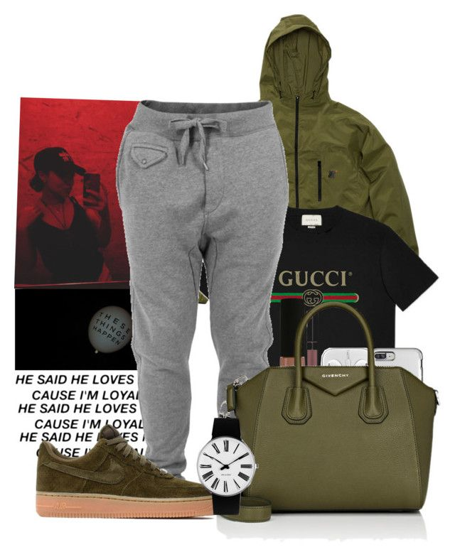 G U C C I  by melaninaire ❤ liked on Polyvore featuring Gucci, Diesel, NYX, Givenchy, NIKE and Rosendahl