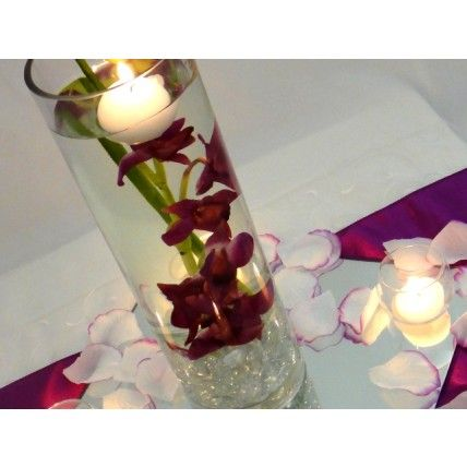 Cylinder Vase On Square Mirror Wedding Table Centrepiece Orchid