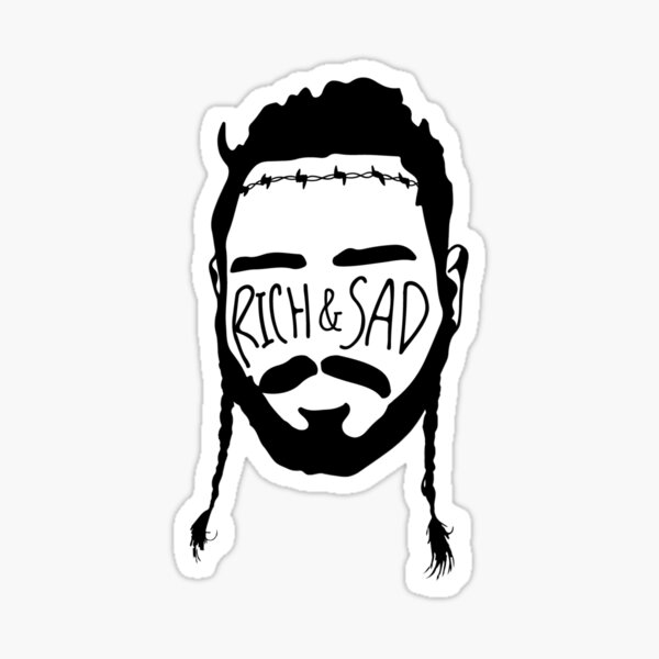 Post Malone Stickers Post Malone Black And White Drawing Simplistic Tattoos