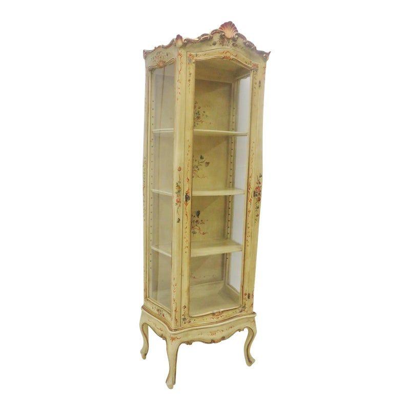 Paint Decorated Fl Curio Cabinet