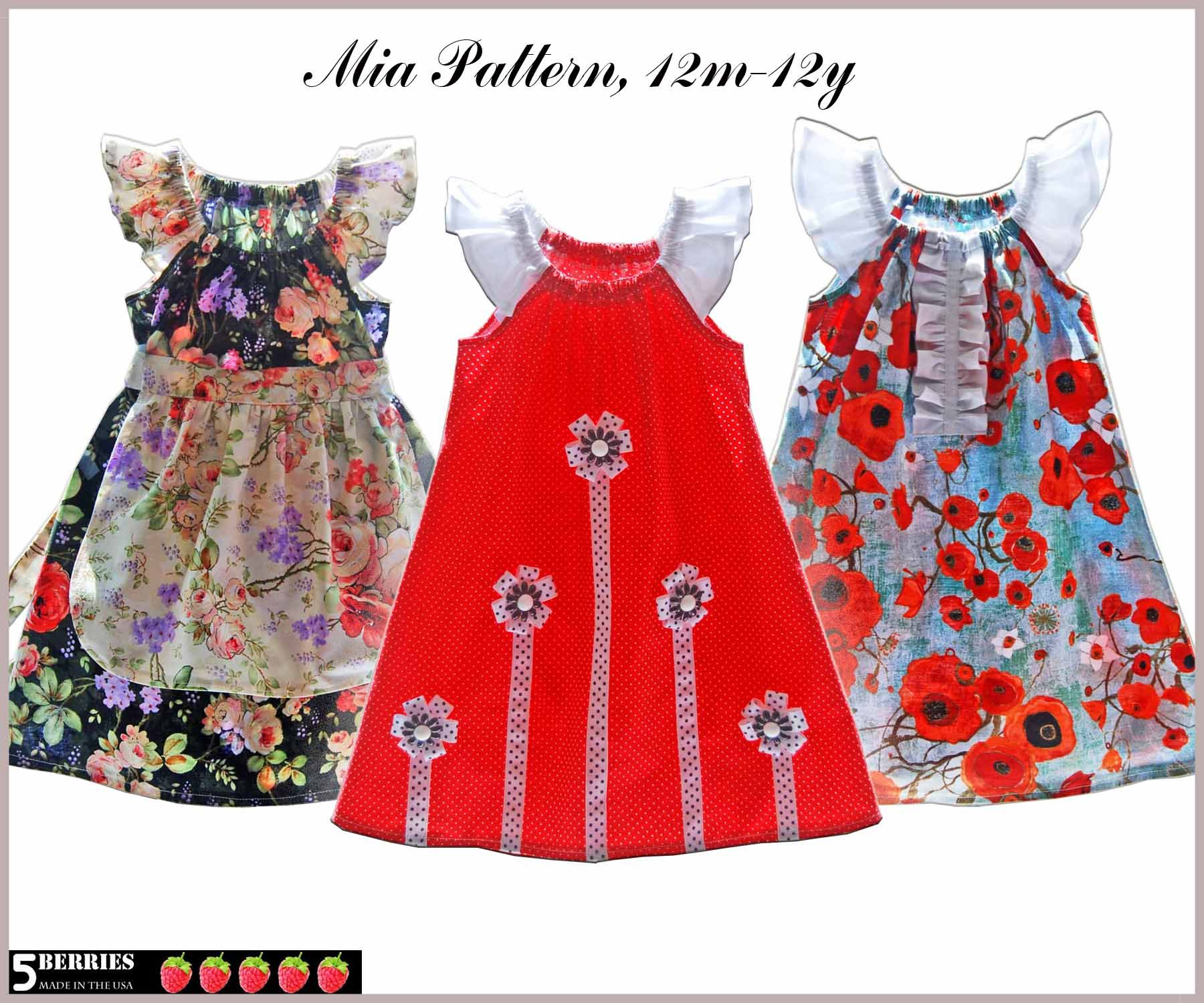 Mia Dress 12mo - 12Y 5Berries Patterns and DressPatterns4Girls ...