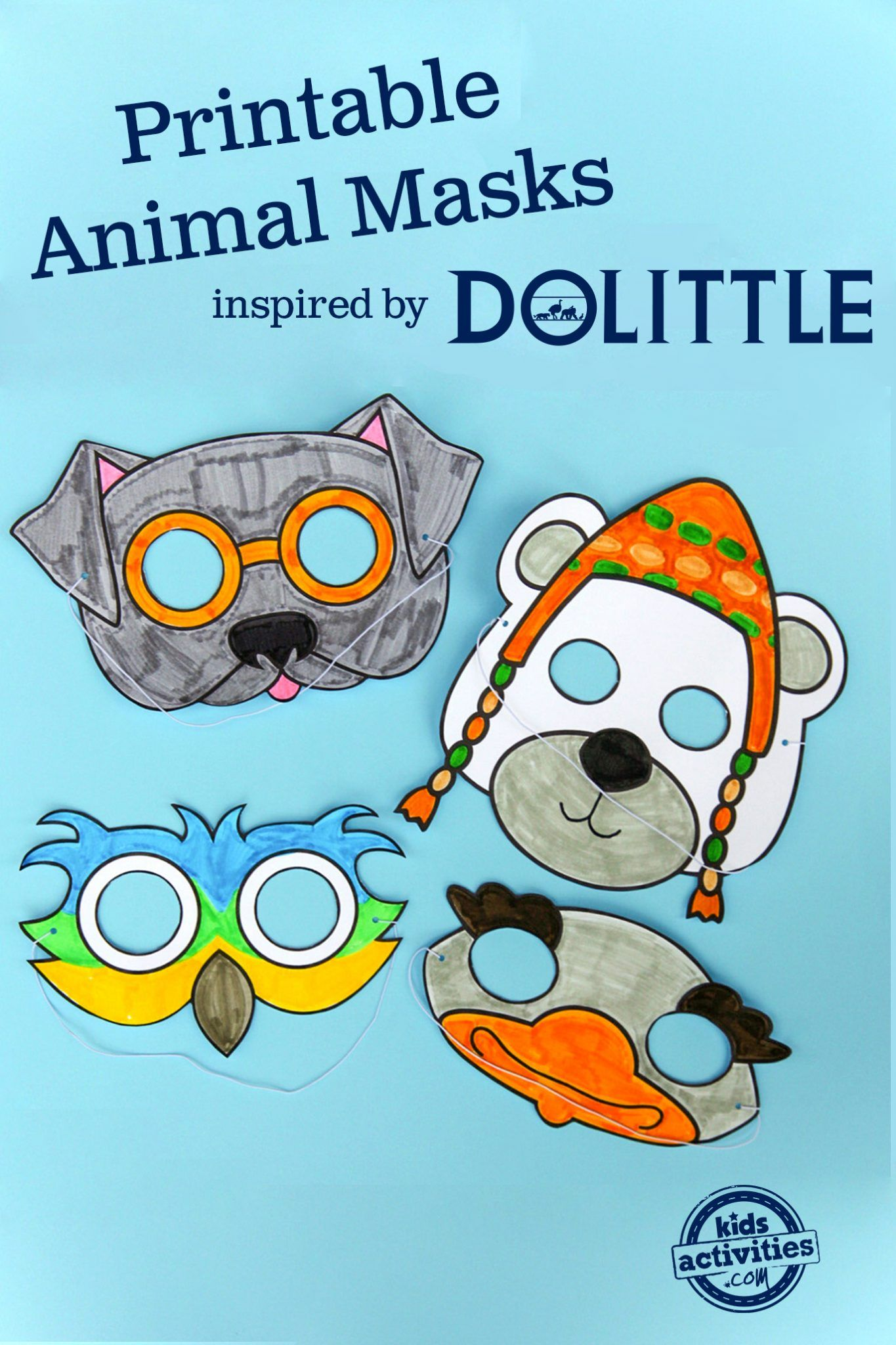 Printable Animal Masks Inspired by Dolittle Printable