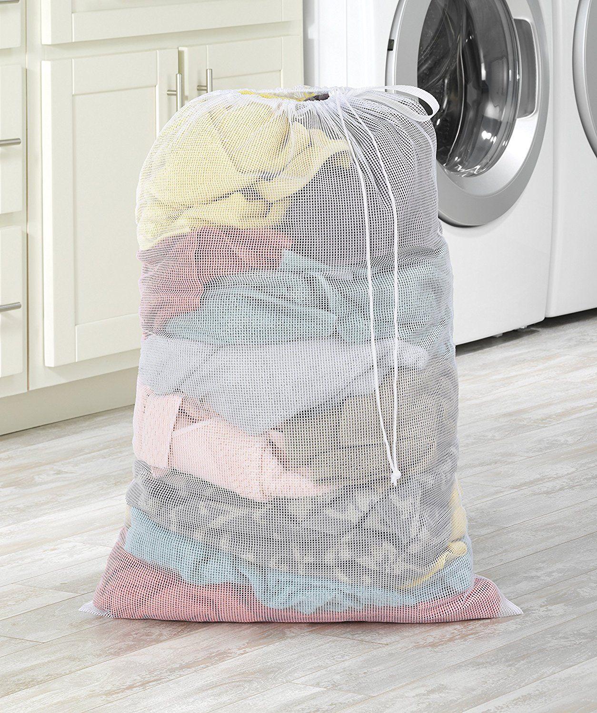 Amazon Com Whitmor Mesh Laundry Bag White Home Kitchen
