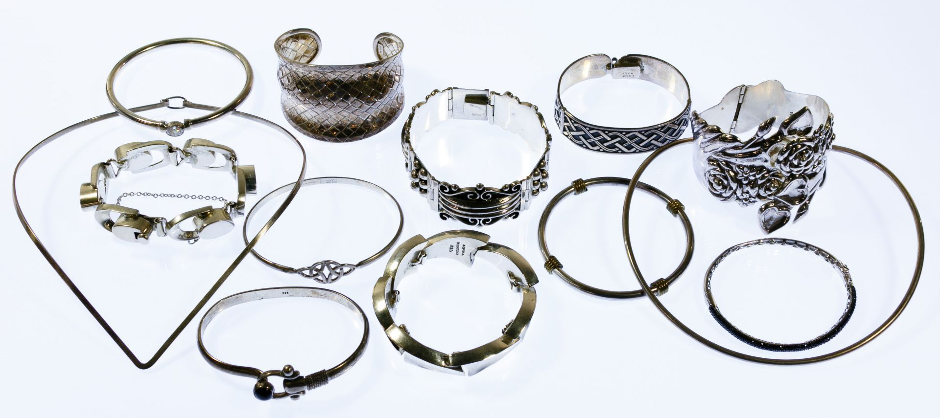 f523d57a5 Lot 364: Sterling Silver Jewelry Assortment; Including two necklaces and  eleven bracelets, some adorned; most marked