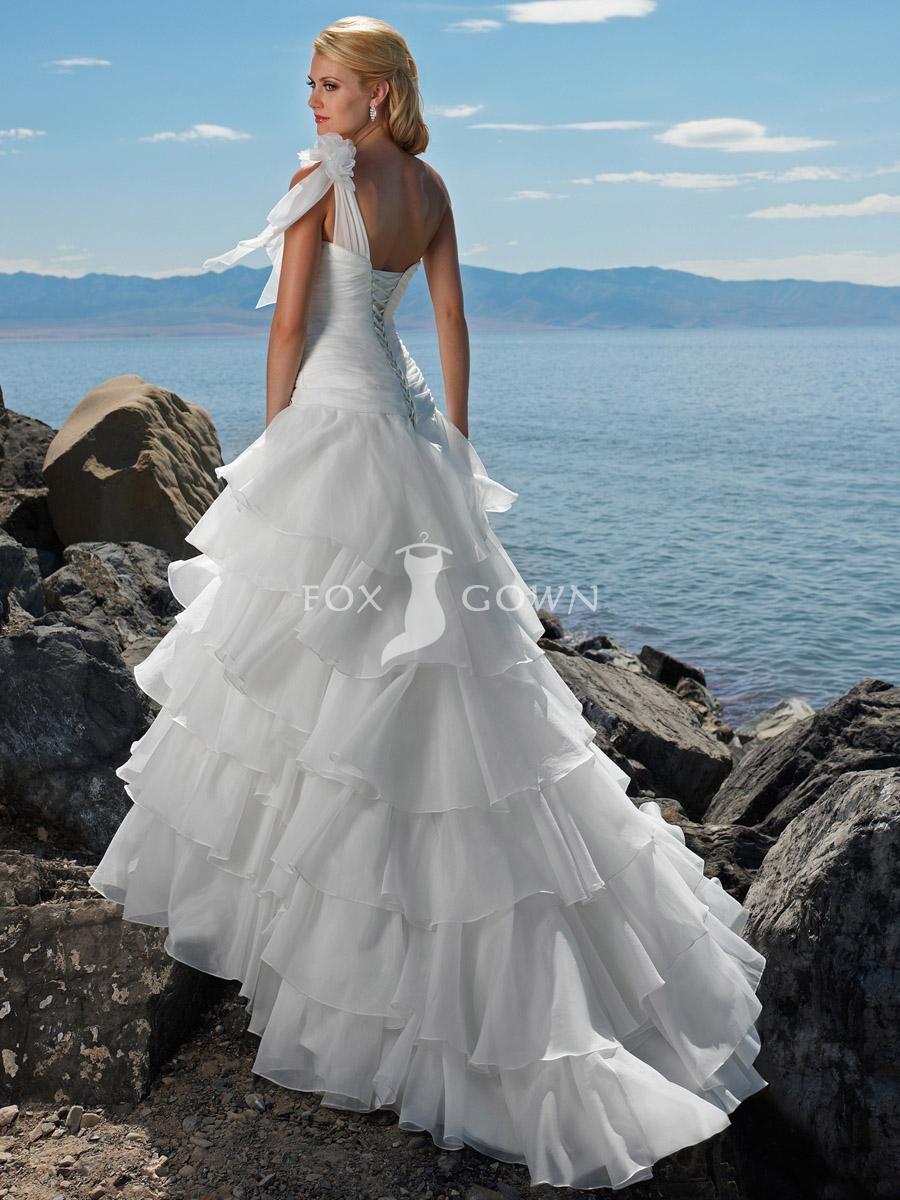 Chic Beach Wedding Dress Glamour Organza One Shoulder Flower Ruffled Tiers Waterfall Effect I