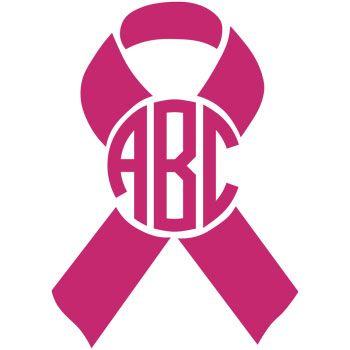 Breast Cancer Awareness Ribbon Monogram Decal Pink Crafts