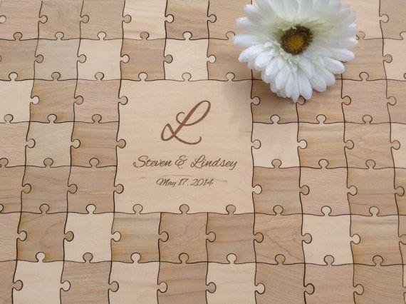 96 pieces Rustic Wedding Guest Book Puzzle -Guest Book Alternative ...