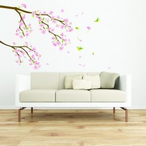 Tree Branch Pink Flowers And Hummingbirds Wall Decal Wall Decor Stickers Wall Deco Asian Home Decor