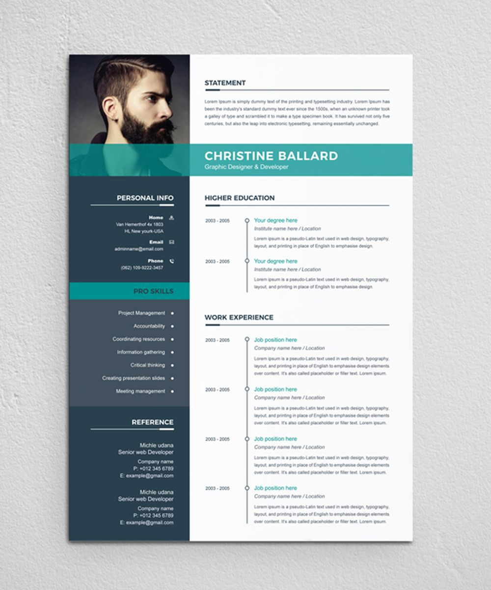 Christine Resume Template Graphic Design Resume Resume Design