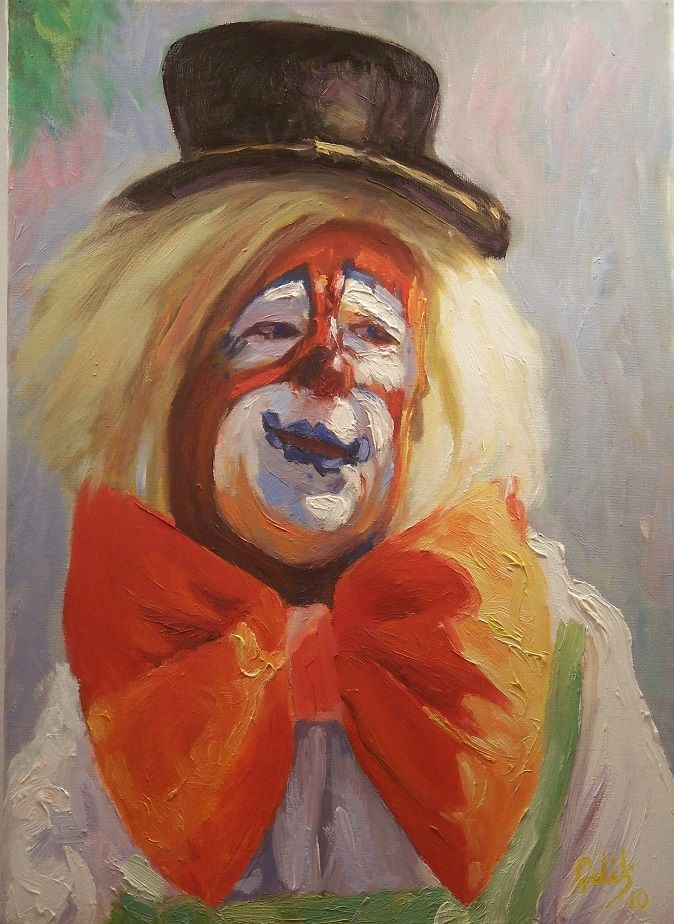 """Clown""  Oil on canvas,46X33cm.2010.Art by Hasan CELIK."