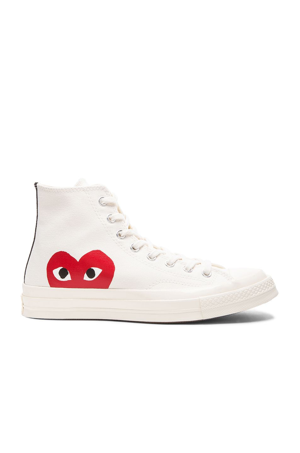 c5f5c302eaed Image 1 of Comme Des Garcons PLAY Large Emblem High Top Canvas Sneakers in  White