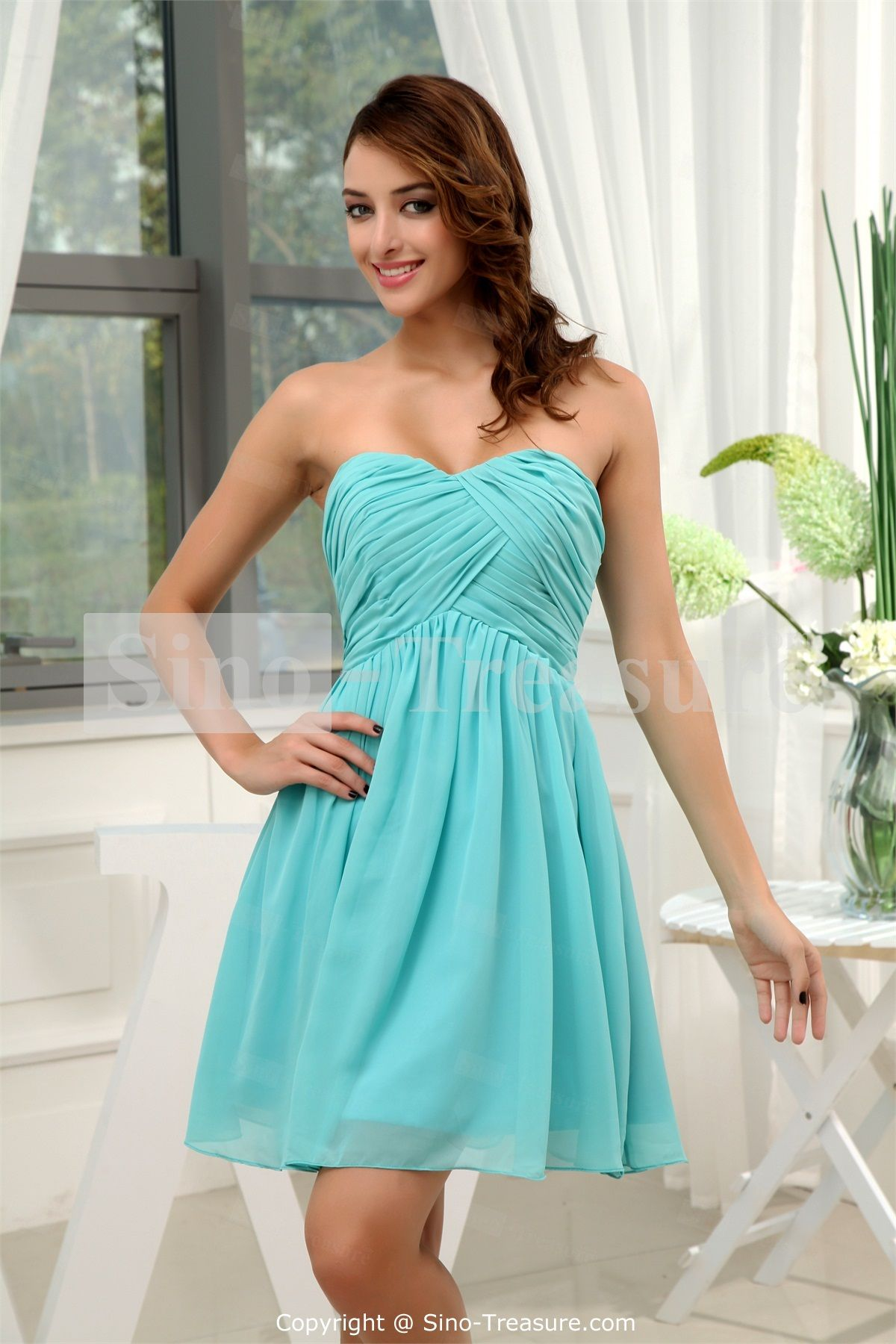 Turquoise A-Line Sweetheart Short/ Mini Chiffon Bridesmaid Dress ...