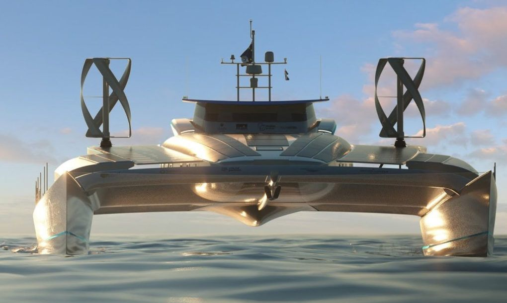 Energy Observer To Sail Around The World Using Only Solar Wind And Hydrogen Fuel Power Catamaran Catamaran Boat