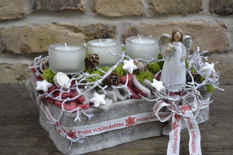 Adventsgesteck-Schneetreiben von Moneria auf DaWanda.com | Silvia ...