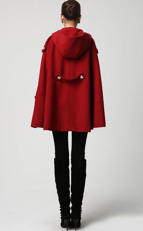 hooded jacket cape coat wool Cape cape cloak military red cape wCCX0Oqt