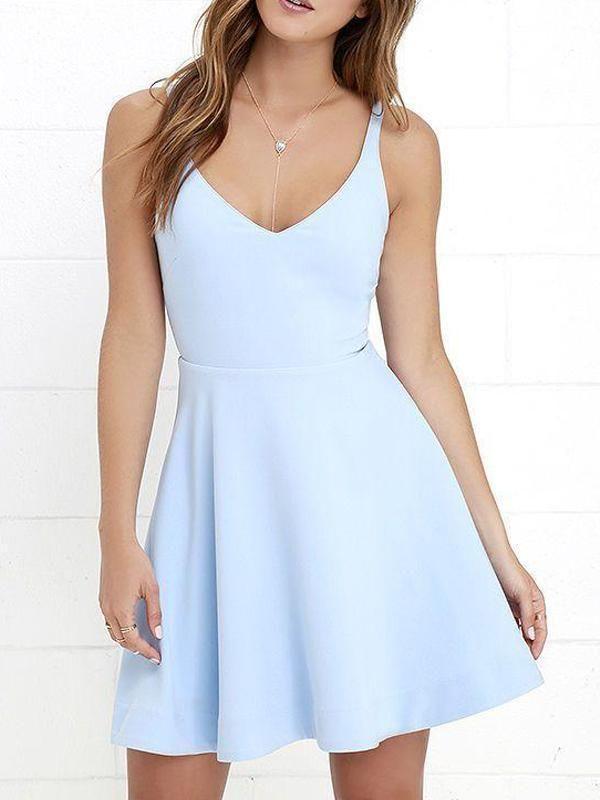 98e6dcaec20 V Neck Light Blue Cheap 2018 Homecoming Dresses Under 100