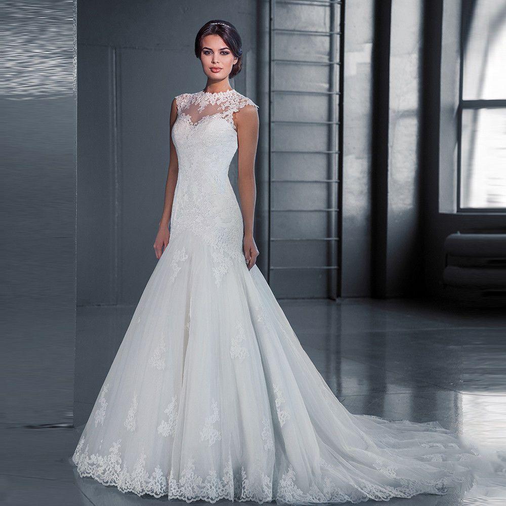 Flower new aline whiteivory lace wedding dresses bridal free