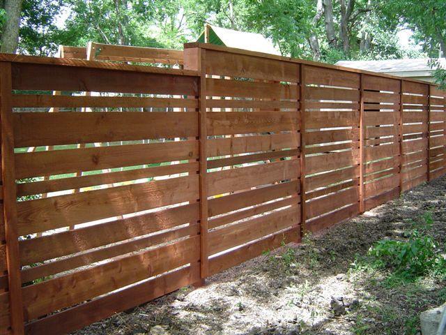 Wood Fences Gallery Viking Fence Custom Horizontal Fence Using 1x4 1x6 And 1x8 Boards Good Neighbor Fence Horizontal Fence Privacy Fence Designs