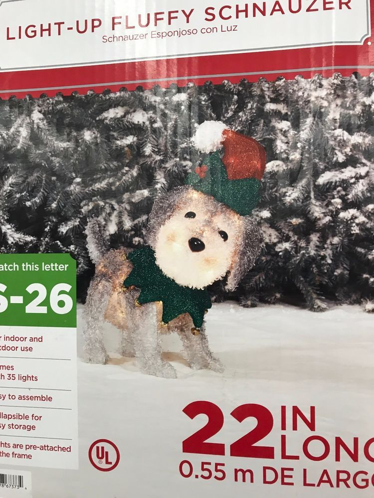 Holiday Time Light Up Fluffy Schnauzer Dog Christmas Yard Decor