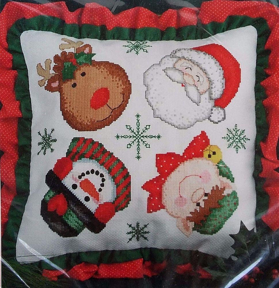 Christmas Cross Stitch Pillow Kit Faces Holiday Santa Elf Reindeer Snowman Decor #ChristmasTraditions #PillowCover