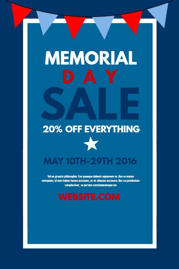 Memorial Day sale poster design Click to customize Memorial Day